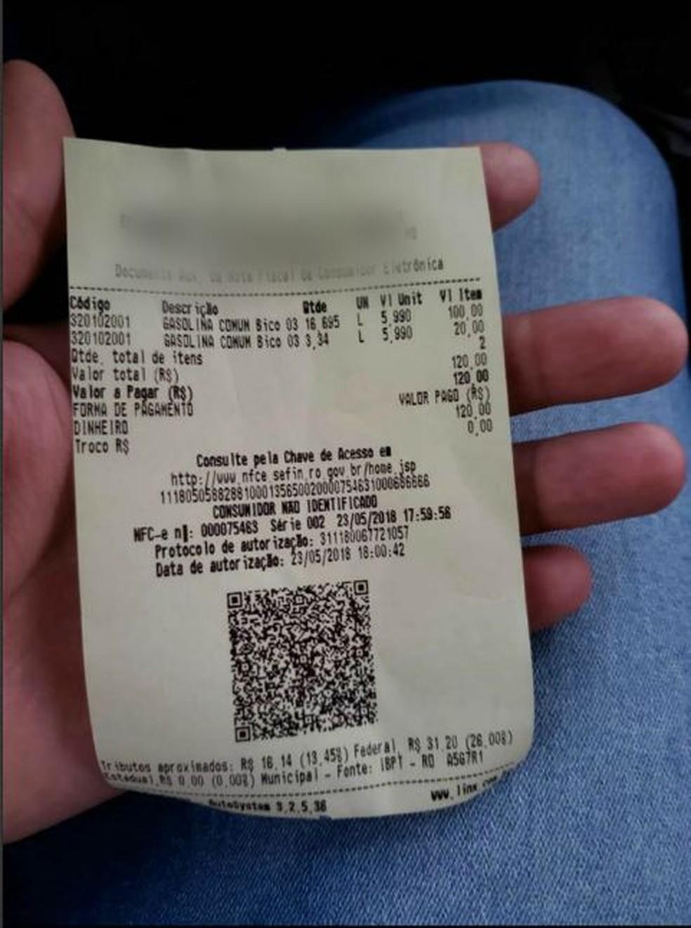 Posto de Ji-Paraná estava cobrança R% 5,99 pelo litro da gasolina comum (Foto: Reprodução/ Facebook)