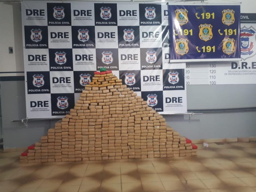 Motorista de MS foi preso em MT com 413 tabletes de maconha (Foto: Polícia Civil de MT/Assessoria)