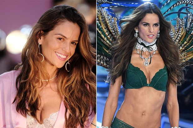 Izabel Goulart with no make-up and make-up (picture: Getty Images)