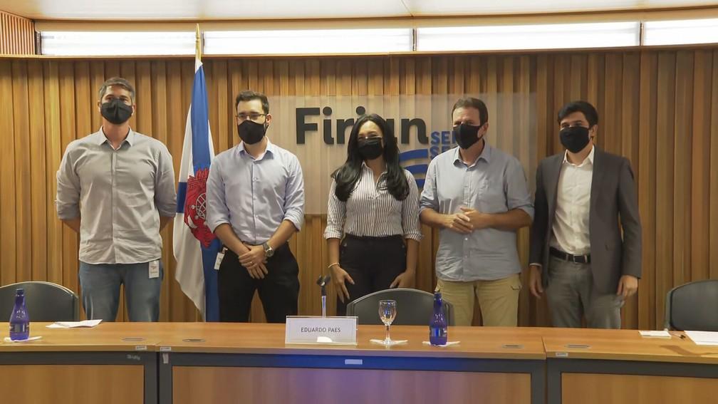 Eduardo Paes anuncia novos nomes para seu governo durante coletiva nesta sexta-feira (4)  — Foto: Reprodução/TV Globo