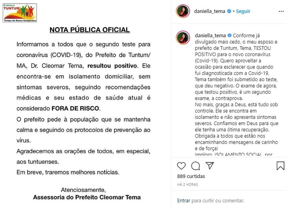 Deputada estadual do Maranhão, Daniella Tema (DEM), fala sobre o diagnóstico positivo para Covid-19 do marido, o prefeito de Tuntum Cleomar Tema. — Foto: Reprodução/Redes Sociais