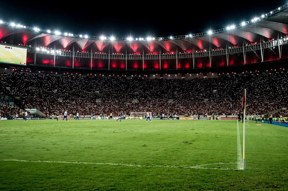 Expectativa de público cheio no Maracanã para o duelo entre Flamengo e Independiente Del Valle — Foto: Alexandre Vidal/GloboEsporte.com