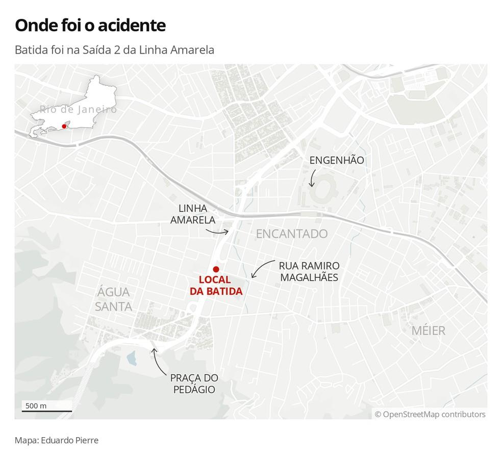 Mapa localiza onde foi a batida deste domingo (8) — Foto: Infografia: Eduardo Pierre/G1