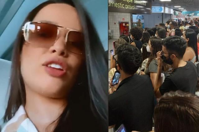Juliette Freire e a multidão que a esperou no aeroporto de Salvador, onde ela gravará o 'Música boa ao vivo' (Foto: Reprodução)