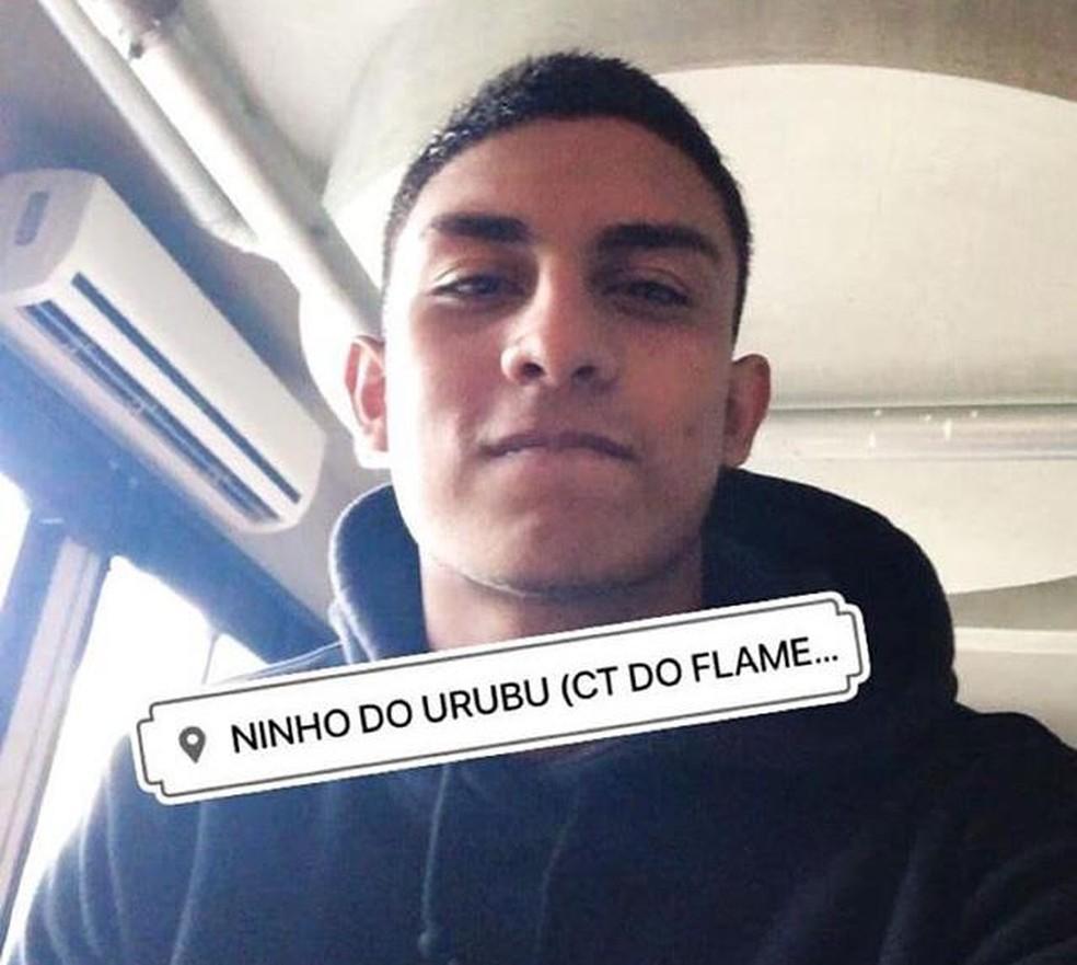 Francisco Dyogo postou em suas redes sociais uma foto no Ninho do Urubu — Foto: Reprodução