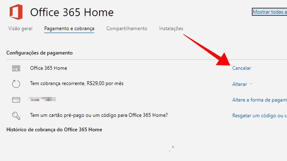 Cancele uma assinatura do Office — Foto: Reprodução/Paulo Alves