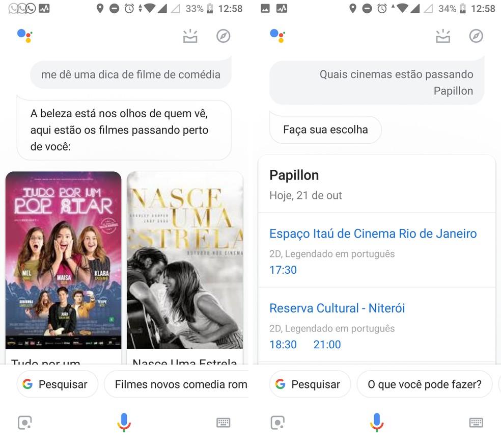 Descubra filmes e saiba os horários dos cinemas com a Google Assistente — Foto: Reprodução/Isabela Cabral