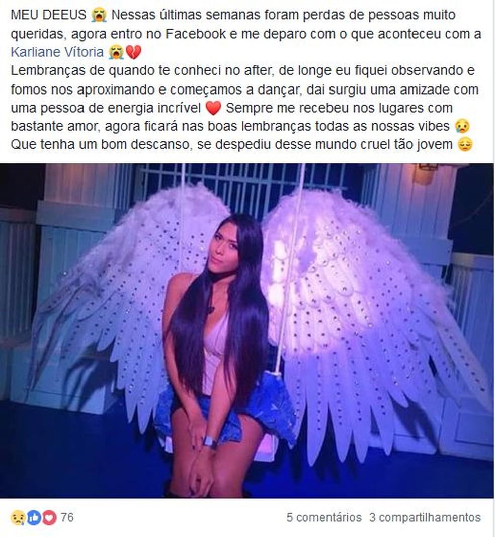 Amigos fazem homenagem na web para Karliane Vitória — Foto: Facebook/Reprodução