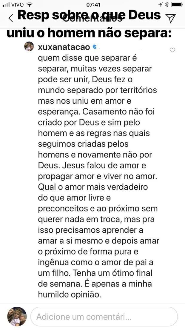 Texto divulgado por Fernando Scherer após fim do casamento com Sheila Mello (Foto: Reprodução/Instagram)