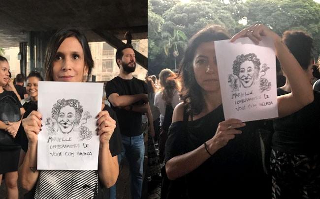 Sarah Oliveira e Marina Person em registros durante o ato (Foto: Reprodução/Instagram)