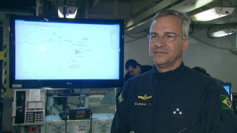 Vice-almirante José Augusto Vieira da Cunha de Menezes coordena a operação 'Amazônia Azul' — Foto: Reprodução/TV Globo
