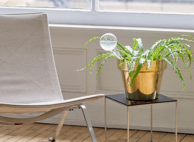 Quando cheio, o recipiente tem água suficiente para regar a planta por semanas, sem que você se preocupe (Foto: Pinterest/ Reprodução)