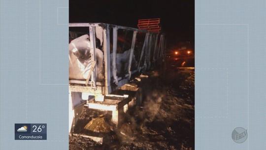 Caminhão carregado com açúcar pega fogo em rodovia de Carmo do Rio Claro, MG