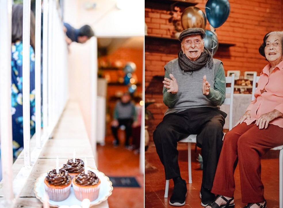 Jucá e a esposa na comemoração dos 104 anos do militar reformado, em abril deste ano; festa teve distanciamento social devido à pandemia — Foto: Giovani Garcia/Arquivo pessoal