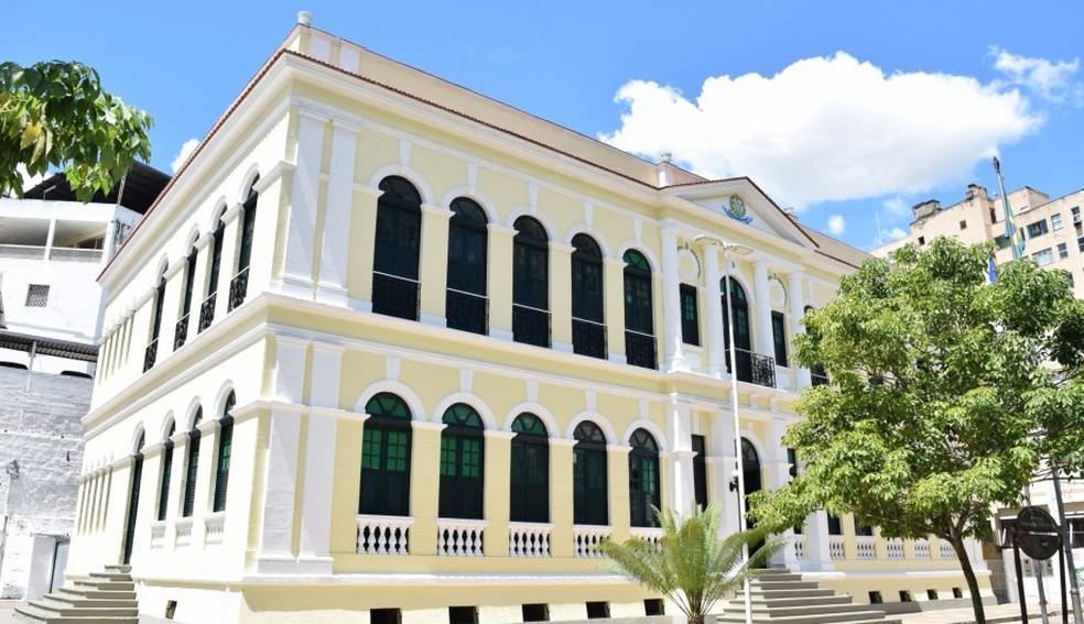 Palácio Bernardino Monteiro, em Cachoeiro de Itapemirim, Região Sul do ES — Foto: Divulgação/Governo do ES