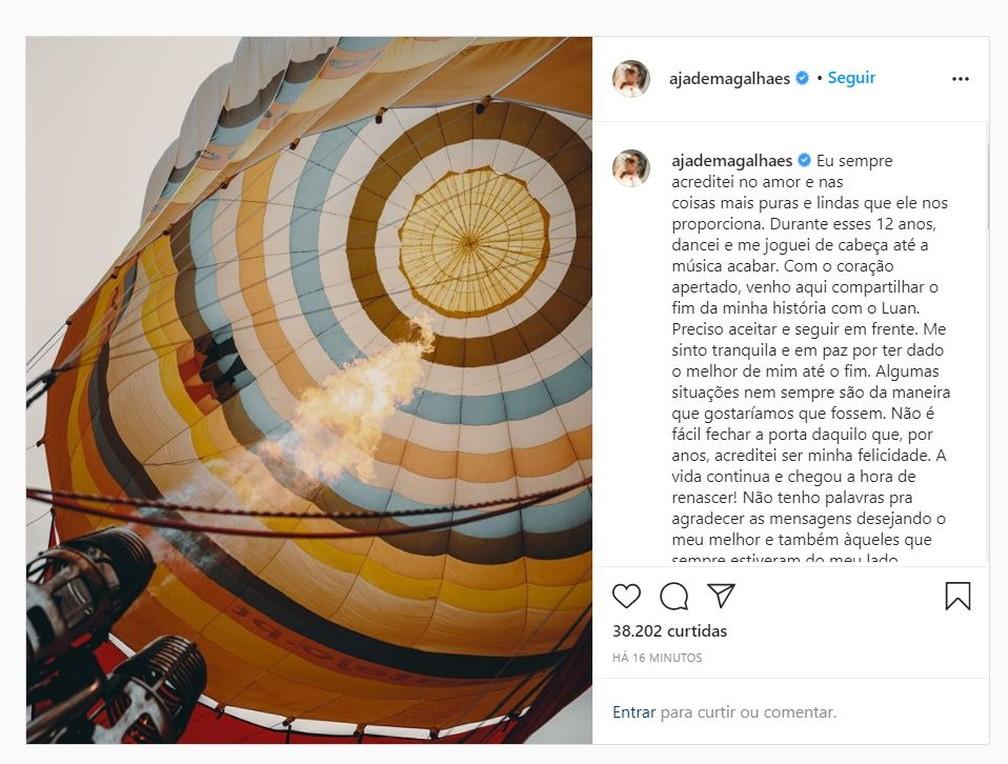 Jade Magalhães faz post sobre término da relação com Luan Santana — Foto: Reprodução / Instagram