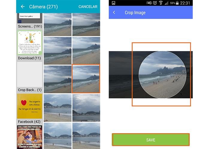 Marque a foto da galeria que deseja usar no relógio e edite o espaço (Foto: Reprodução/Barbara Mannara)