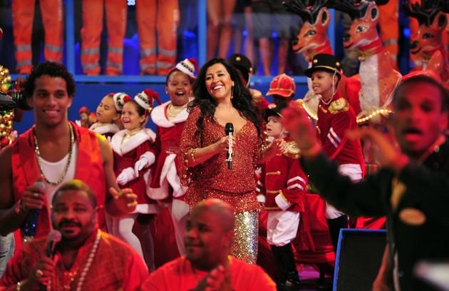 No palco do 'Esquenta' especial de Natal, em 2012 (Foto: Divulgação/ TV Globo)