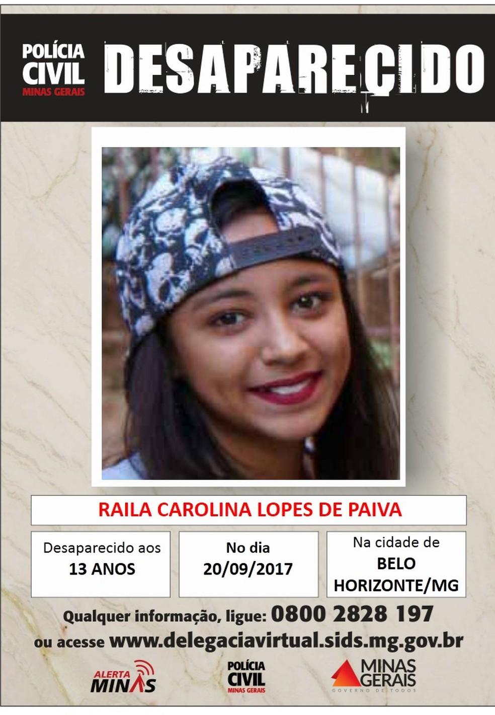 Raila Carolina Lopes de Paiva, de 13 anos (Foto: Polícia Civil/Divulgação)