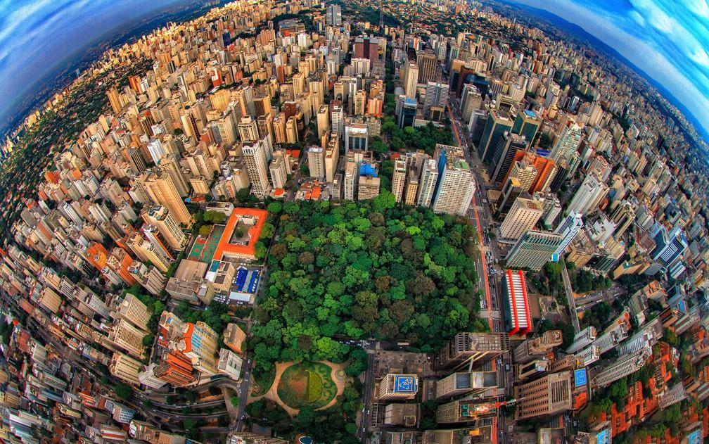 ista aérea do Parque Trianon, na Avenida Paulista, região centro sul da cidade de São Paulo na manhã deste sábado — Foto: Joca Press/Photopress/Estadão Conteúdo