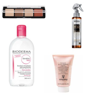 Palette Pro Sculpting Face, da Make Up For Ever / Sensibio, da Bioderma / Masque Eclat Express, da Sisley / Spray Beach Waves Wild Stylers, da L'Oréal Professionnel