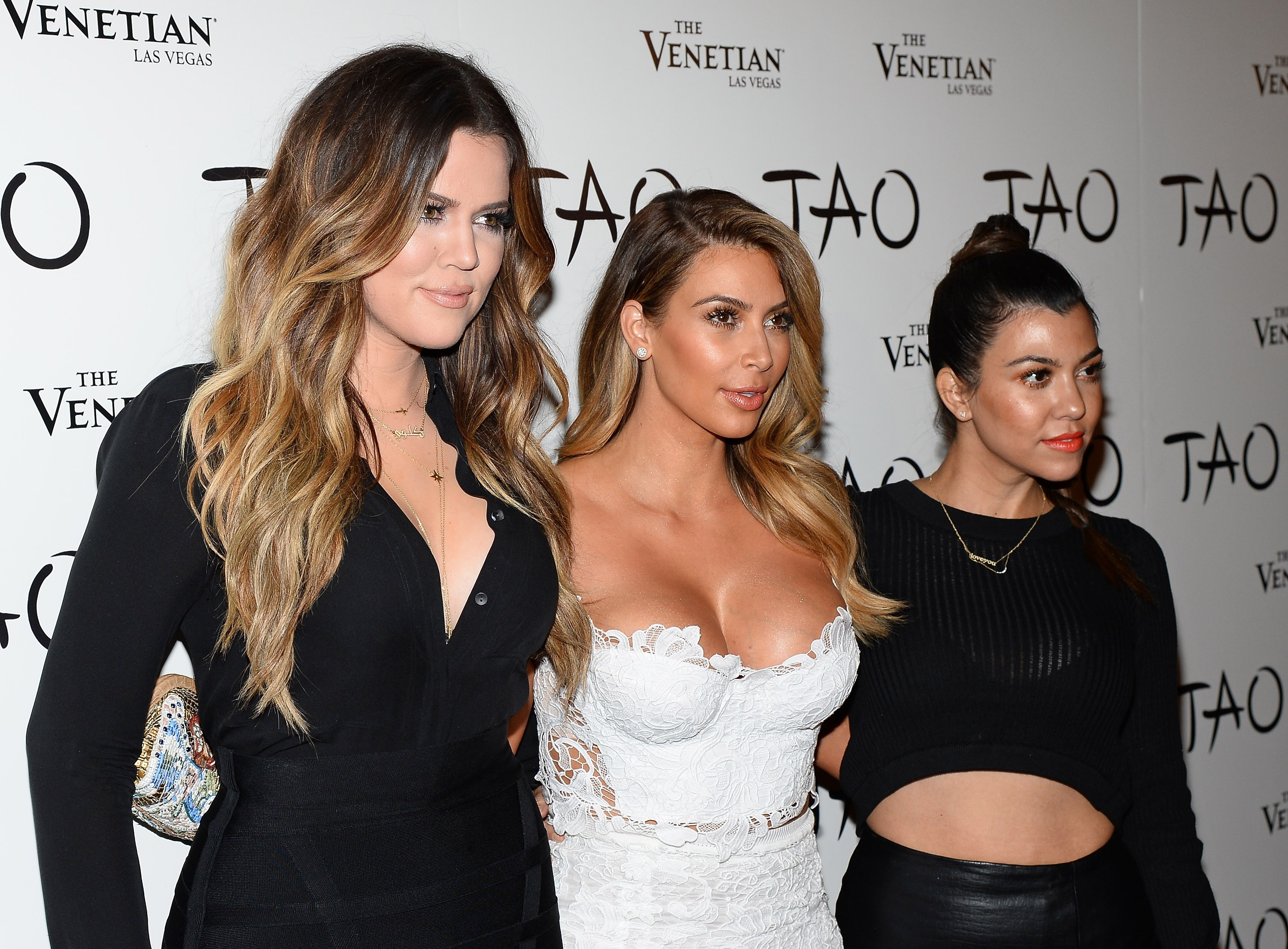As irmãs Kardashian Khloé, Kim e Kourtney (Foto: Getty Images)