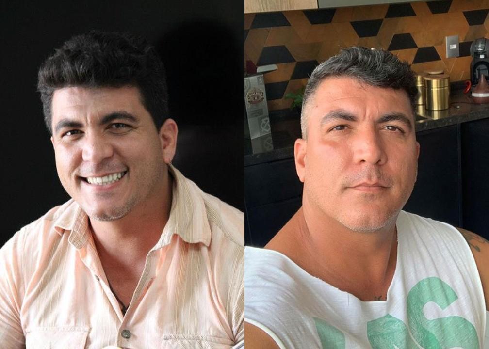 Cássio Sampaio, compositor de 'Balada (Tchê Tchê Rere)', em 2012 e em 2020 — Foto: Reprodução/Instagram do artista