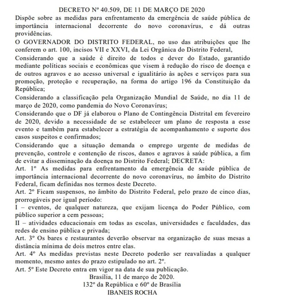 Decreto suspende aulas e eventos no DF por cinco dias devido ao coronavírus — Foto: Diário Oficial do DF/Reprodução