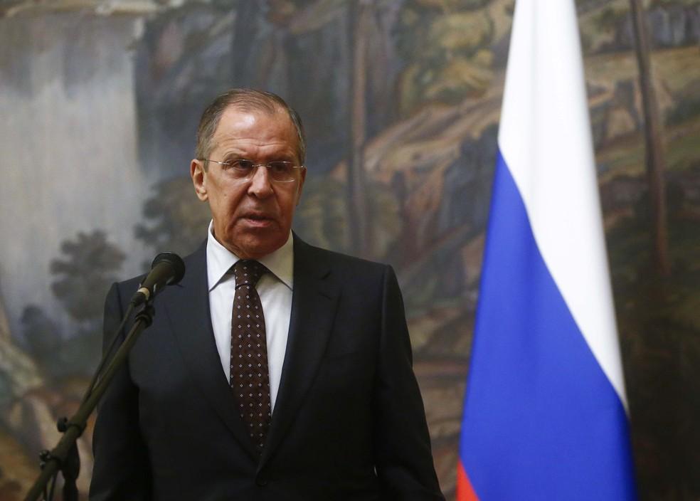 Sergei Lavrov, ministro de Relações Exteriores da Rússia, durante entrevista coletiva em Moscou (Foto: Sergei Karpukhin/Reuters)