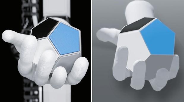 À esquerda o robô real e à direita a verão digital (Foto: Divulgação)
