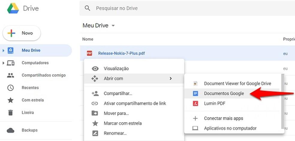 Abra o arquivo no Google Docs — Foto: Reprodução/Gabriel Ribeiro