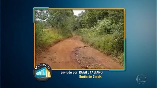 Morador de Barão de Cocais mostra estrada malconservada e reclama