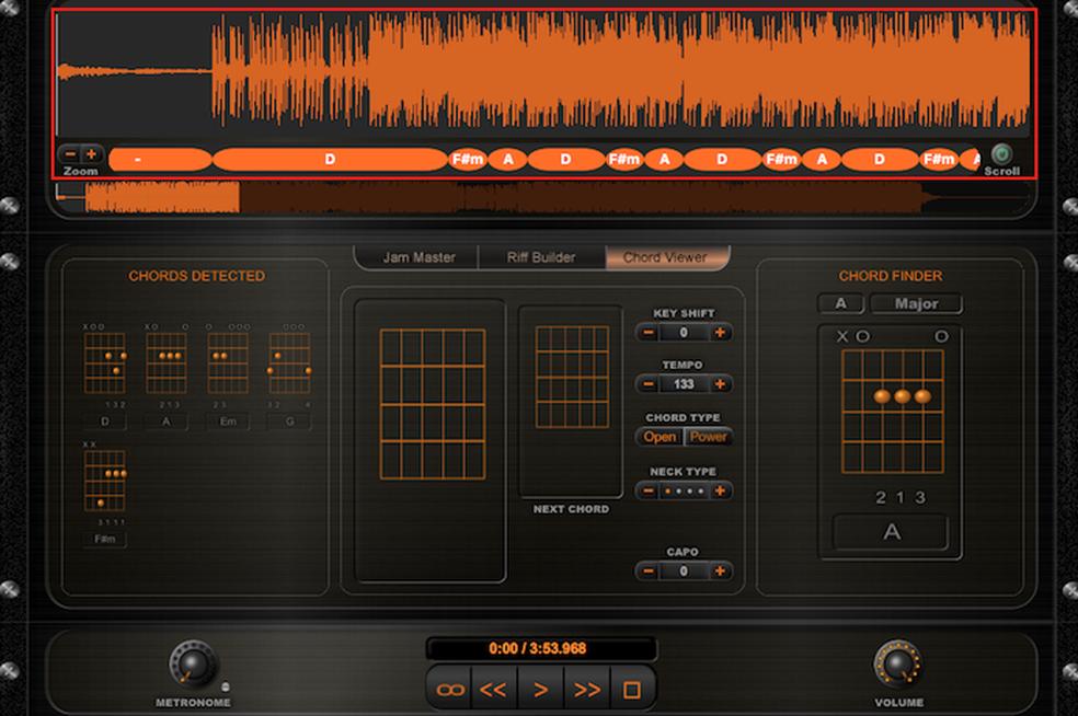 Cifras de uma música identificadas pelo app Riffstation (Foto: Reprodução/Marvin Costa)