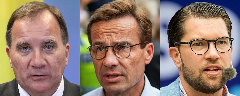 -  Stefan Lofven, do Social Democratas; Ulf Kristersson, líder dos Moderados e Jimmie Akesson, dos Democratas da Suécia.  Foto: Jonathan NACKSTRAND, Lud
