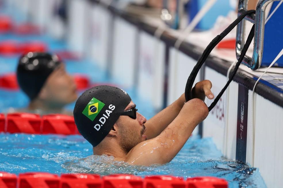 Daniel Dias pronto para largar em busca de mais uma final nas Paralimpíadas de Tóquio 2020, agora nos 50m costas S5 — Foto: Lintao Zhang/Getty Images