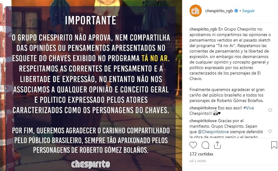 Post do Grupo Chespirito (Foto: Reprodução Instagram)