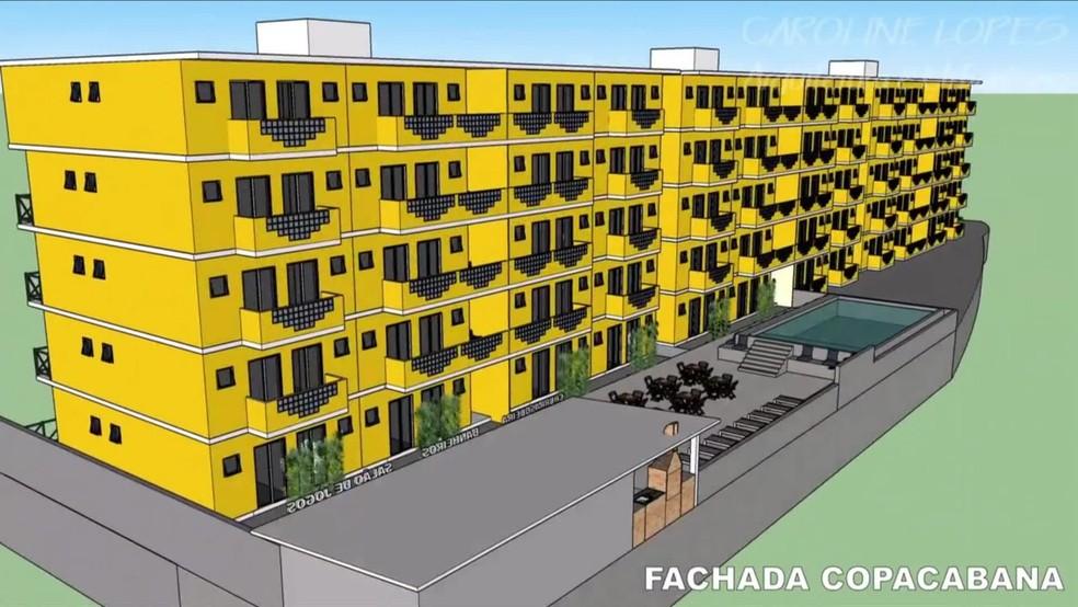 Visualização em 3D de condomínio irregular em Copacabana — Foto: Reprodução