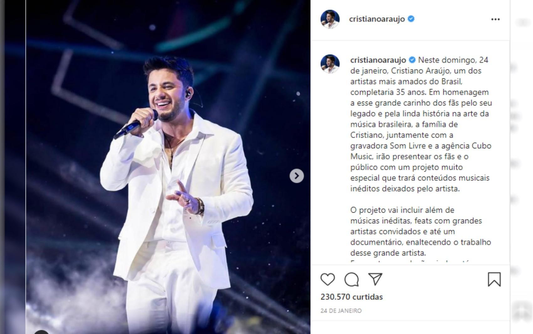 Morte de Cristiano Araújo completa 6 anos, e fãs fazem homenagens