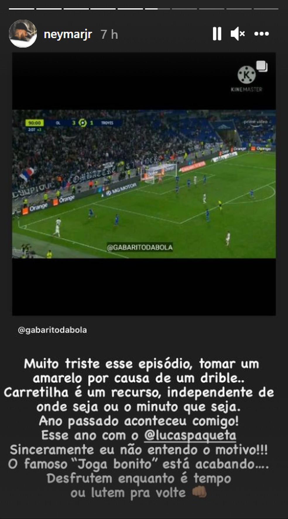 Neymar saiu em defesa de Paquetá nas redes sociais - Reprodução/Instagram