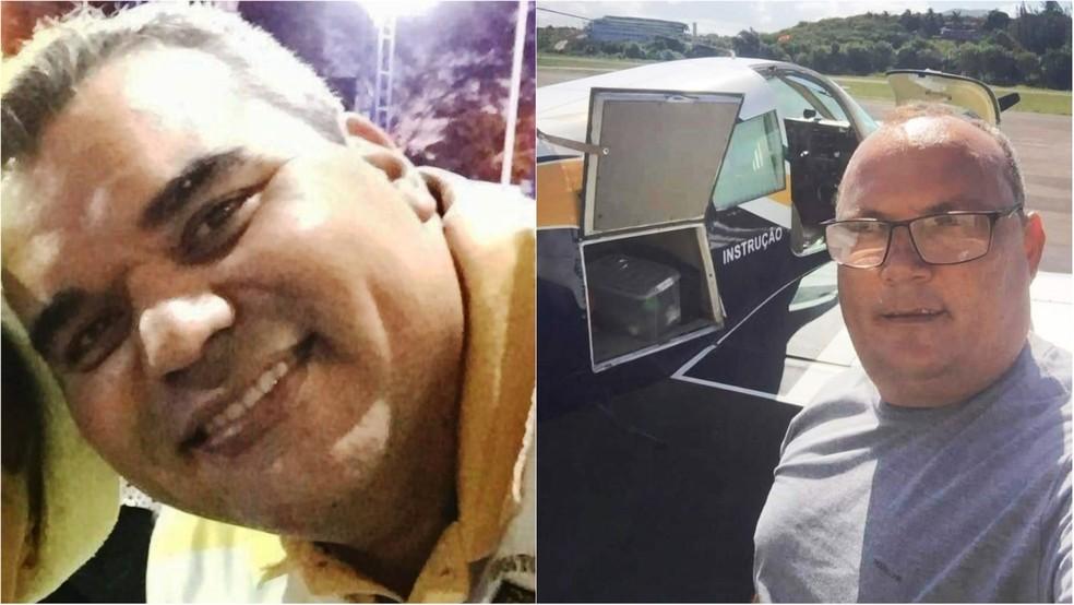 Vítimas de queda de avião em Guarapari (ES): Luciano Ferreira de Souza (à direita) e Fabiano Luiz Gonçalves (à esquerda) — Foto: Reprodução/ Redes Sociais
