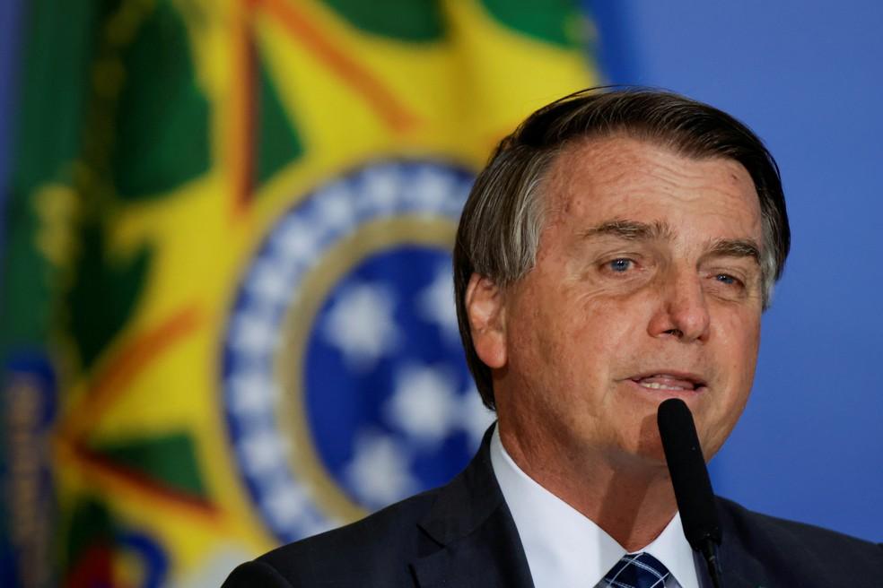 O presidente Jair Bolsonaro, em discurso no Planalto — Foto: Ueslei Marcelino/Reuters