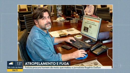 Polícia procura homem de moto que atropelou e matou o jornalista Rogério Daflon