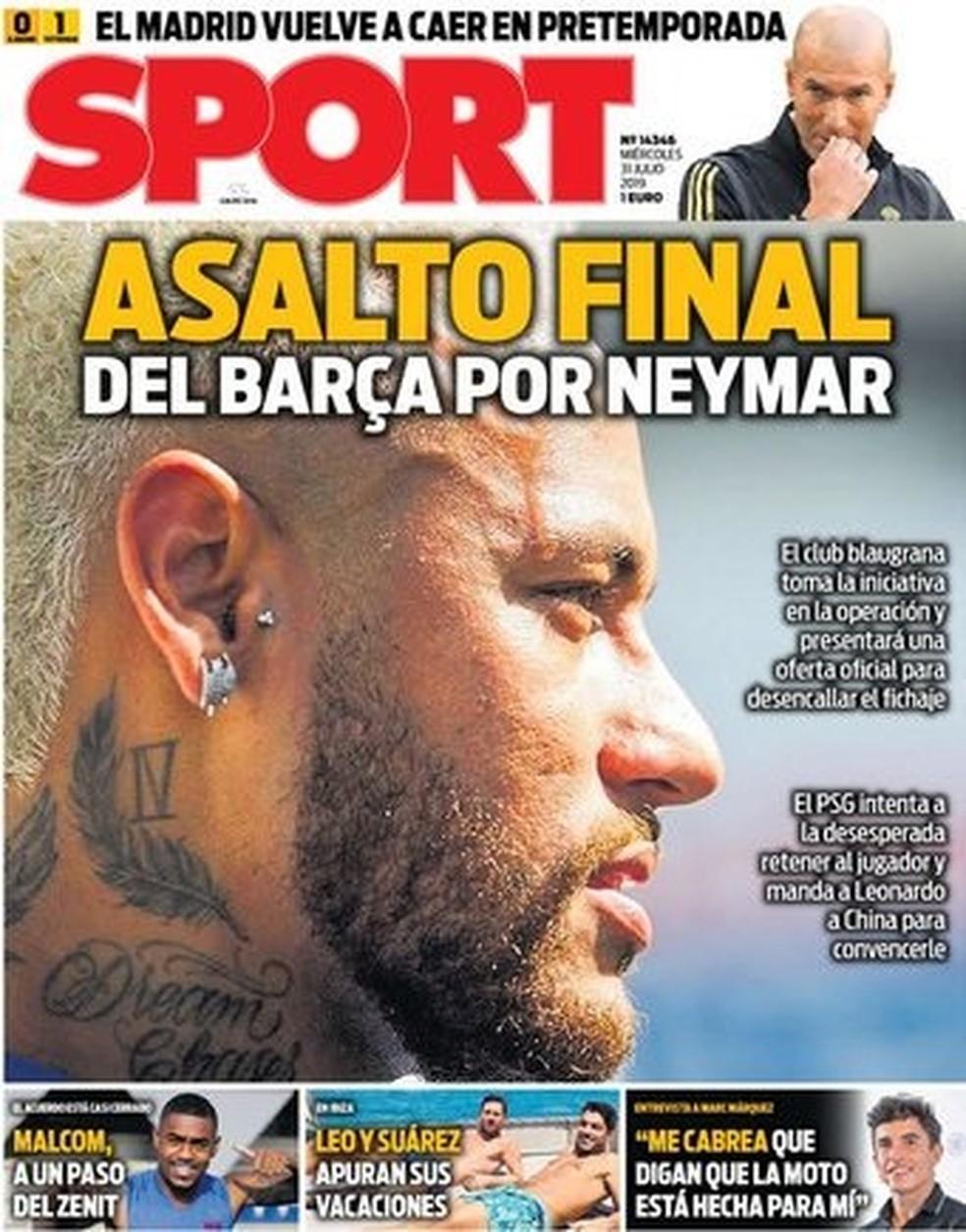 """""""Sport"""" destaca que o Barça fará investida final por Neymar — Foto: Reprodução/Sport"""