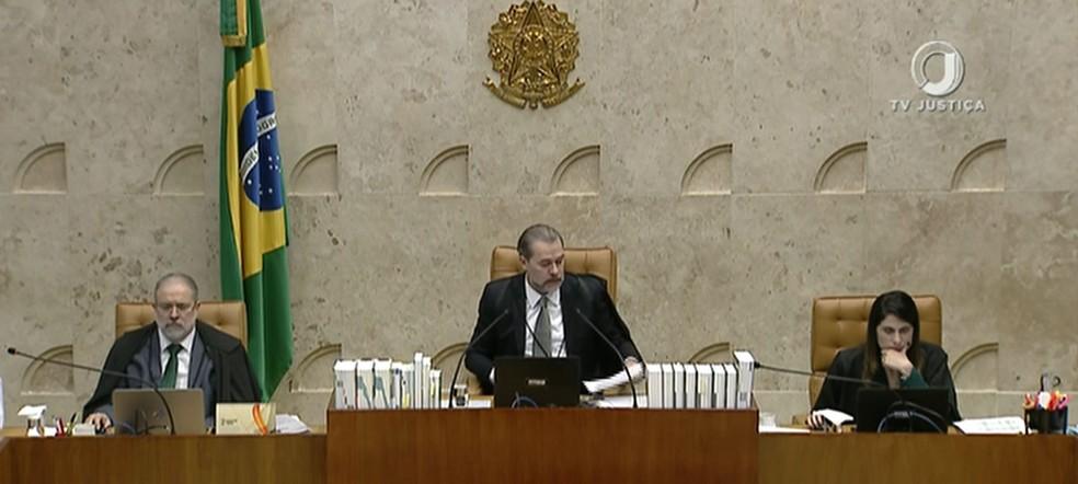 Presidente do Supremo Tribunal Federal, ministro Dias Toffoli (no centro) — Foto: Reprodução / TV Globo