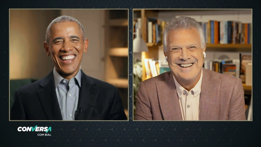 Obama em entrevista a Pedro Bial — Foto: Reprodução/TV Globo