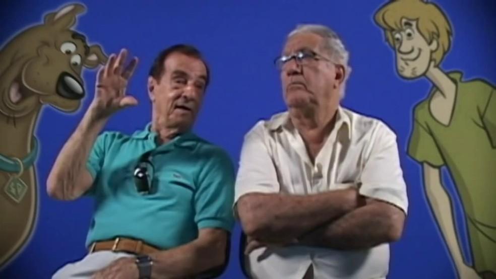 Orlando Drummond, voz do Scooby-Doo, e Mário Monjardim, o Salsicha: amigos morreram em intervalo de 3 dias — Foto: Divulgação / MF Press Global