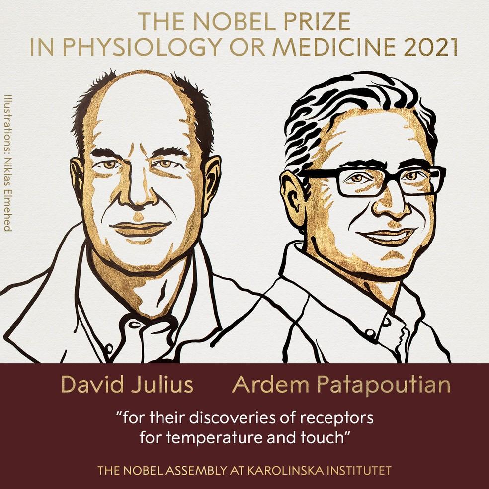 David Julius e Ardem Patapoutian — Foto: Reprodução/Twitter Nobel Prize