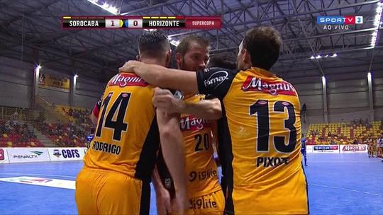 O gol de Sorocaba 1 x 0 Horizonte pela semifinal da Supercopa de Futsal