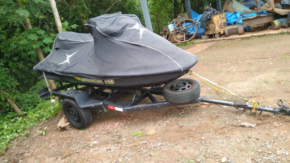 Jet ski foi apreendido durante ação da Polícia Federal contra o tráfico de drogas.  — Foto: Reprodução/Polícia Federal