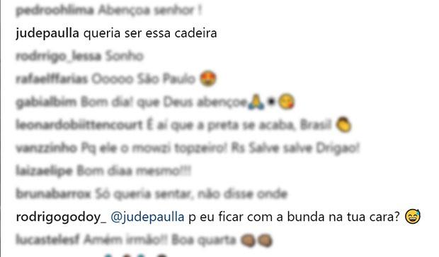 """Rodrigo recebe """"xaveco"""" de Ju de Paulla, amiga de Preta (Foto: Reprodução/Instagram)"""